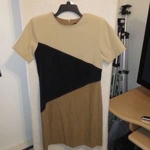 Vintage faux suede color block dress